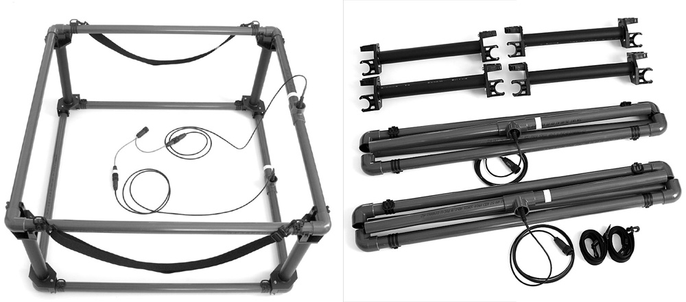 Lorenz Z1 1m x 1m double frame coil kit : 1m x 1m frame coils; four mounting devices 0,6m length; one Y- adapter cable with three connectors; two carrying straps